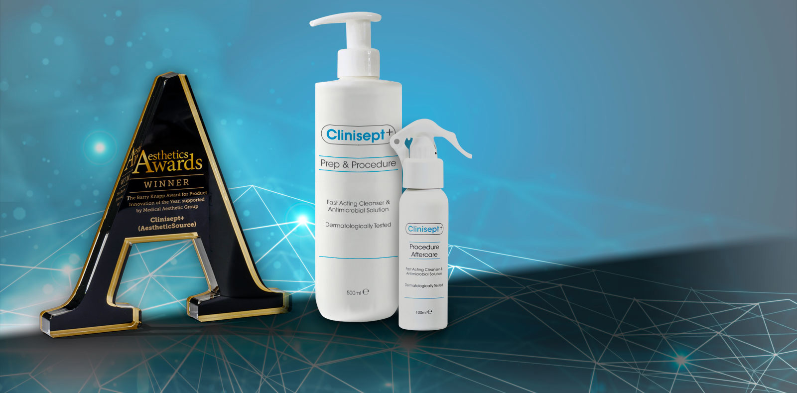 Clinisept+ products with Aesthetics Awards