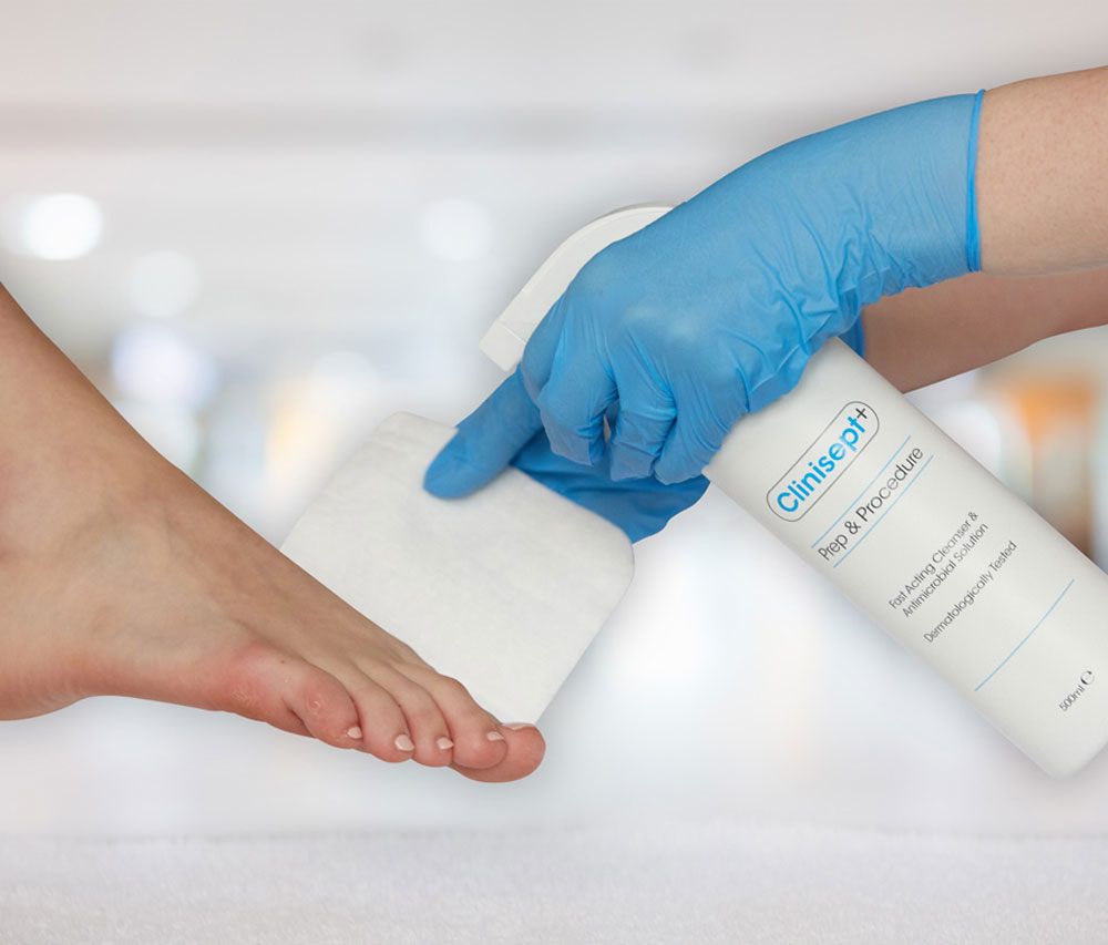 using clinisept+ prep procedure podiatry